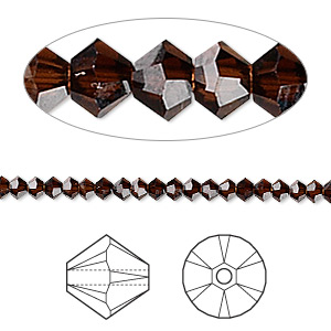 bead, swarovski crystals, crystal passions, mocca, 3mm xilion bicone (5328). sold per pkg of 48.