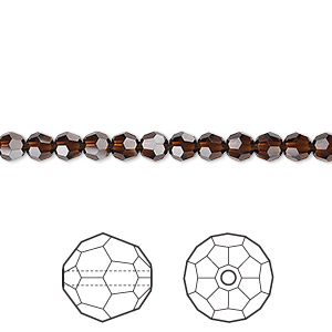 bead, swarovski crystals, crystal passions, mocca, 4mm faceted round (5000). sold per pkg of 12.