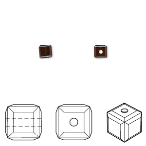 bead, swarovski crystals, crystal passions, mocca, 4x4mm faceted cube (5601). sold per pkg of 12.