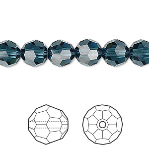 bead, swarovski crystals, crystal passions, montana, 8mm faceted round (5000). sold per pkg of 12.