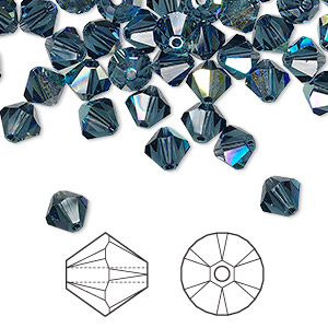 bead, swarovski crystals, crystal passions, montana ab, 6mm xilion bicone (5328). sold per pkg of 144 (1 gross).