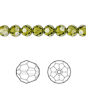 bead, swarovski crystals, crystal passions, olivine, 6mm faceted round (5000). sold per pkg of 12.