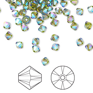 bead, swarovski crystals, crystal passions, olivine ab2x, 4mm xilion bicone (5328). sold per pkg of 48.