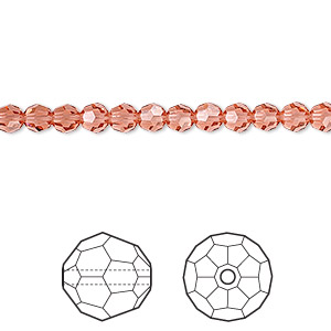 bead, swarovski crystals, crystal passions, padparadscha, 4mm faceted round (5000). sold per pkg of 12.