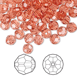 bead, swarovski crystals, crystal passions, padparadscha, 6mm faceted round (5000). sold per pkg of 144 (1 gross).