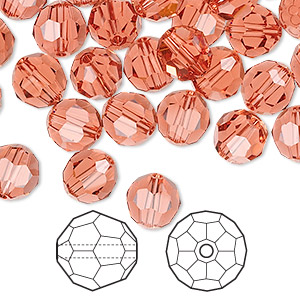 bead, swarovski crystals, crystal passions, padparadscha, 8mm faceted round (5000). sold per pkg of 144 (1 gross).