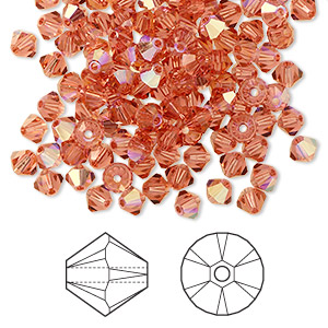 bead, swarovski crystals, crystal passions, padparadscha ab, 4mm xilion bicone (5328). sold per pkg of 144 (1 gross).