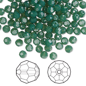 bead, swarovski crystals, crystal passions, palace green opal, 4mm faceted round (5000). sold per pkg of 144 (1 gross).
