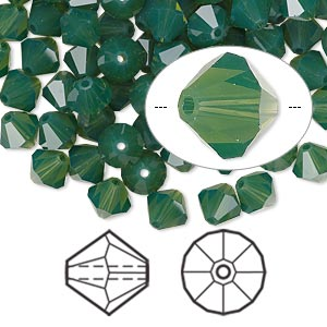 bead, swarovski crystals, crystal passions, palace green opal, 6mm faceted bicone (5301). sold per pkg of 24.