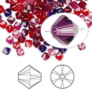 bead, swarovski crystals, crystal passions, passion, 4mm xilion bicone (5328). sold per pkg of 48.