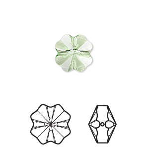 bead, swarovski crystals, crystal passions, peridot, 12x12mm faceted clover (5752). sold per pkg of 12.