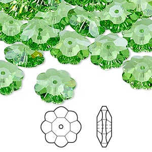 bead, swarovski crystals, crystal passions, peridot, 12x4mm faceted marguerite lochrose flower (3700). sold per pkg of 12.
