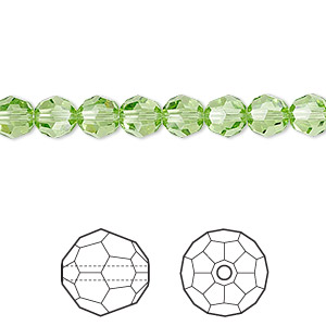 bead, swarovski crystals, crystal passions, peridot, 6mm faceted round (5000). sold per pkg of 12.