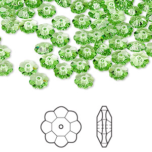 bead, swarovski crystals, crystal passions, peridot, 6x2mm faceted marguerite lochrose flower (3700). sold per pkg of 12.