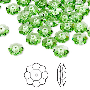bead, swarovski crystals, crystal passions, peridot, 8x3mm faceted marguerite lochrose flower (3700). sold per pkg of 144 (1 gross).