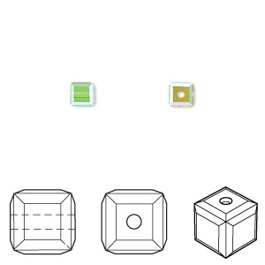 bead, swarovski crystals, crystal passions, peridot ab, 4x4mm faceted cube (5601). sold per pkg of 12.