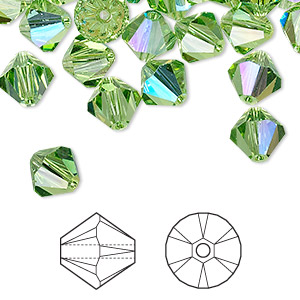 bead, swarovski crystals, crystal passions, peridot ab, 8mm xilion bicone (5328). sold per pkg of 12.