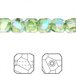 bead, swarovski crystals, crystal passions, peridot ab, 8x8mm faceted graphic cube (5603). sold per pkg of 6.
