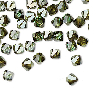 bead, swarovski crystals, crystal passions, peridot bronze shade, 6mm xilion bicone (5328). sold per pkg of 144 (1 gross).
