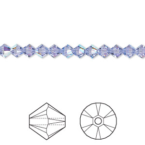 bead, swarovski crystals, crystal passions, provence lavender ab, 4mm xilion bicone (5328). sold per pkg of 144 (1 gross).