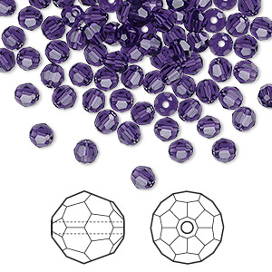 bead, swarovski crystals, crystal passions, purple velvet, 4mm faceted round (5000). sold per pkg of 12.