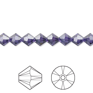 bead, swarovski crystals, crystal passions, purple velvet, 6mm xilion bicone (5328). sold per pkg of 24.