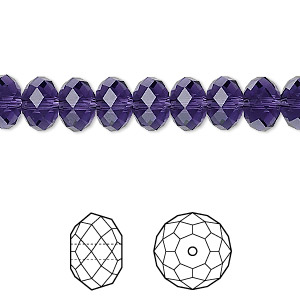 bead, swarovski crystals, crystal passions, purple velvet, 8x6mm faceted rondelle (5040). sold per pkg of 12.