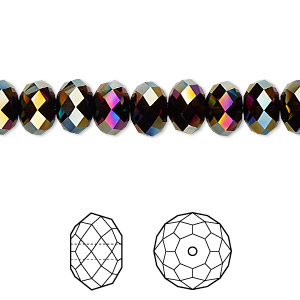 bead, swarovski crystals, crystal passions, rainbow dark 2x, 8x6mm faceted rondelle (5040). sold per pkg of 12.