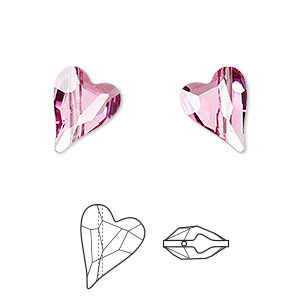 bead, swarovski crystals, crystal passions, rose, 12x10mm diagonally drilled left- and right-facing faceted wild heart (5743). sold per pkg of 2.