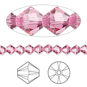 bead, swarovski crystals, crystal passions, rose, 5mm xilion bicone (5328). sold per pkg of 24.