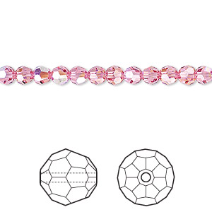 bead, swarovski crystals, crystal passions, rose ab, 4mm faceted round (5000). sold per pkg of 12.