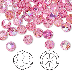 bead, swarovski crystals, crystal passions, rose ab, 6mm faceted round (5000). sold per pkg of 144 (1 gross).