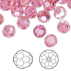 bead, swarovski crystals, crystal passions, rose ab, 8mm faceted round (5000). sold per pkg of 144 (1 gross).