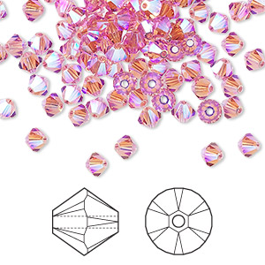 bead, swarovski crystals, crystal passions, rose ab2x, 4mm xilion bicone (5328). sold per pkg of 48.