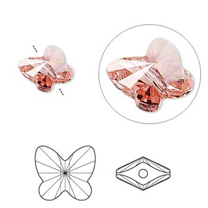 bead, swarovski crystals, crystal passions, rose peach, 10x9mm faceted butterfly (5754). sold per pkg of 12.