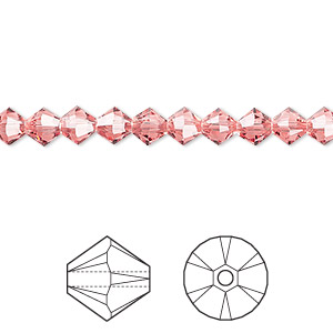 bead, swarovski crystals, crystal passions, rose peach, 5mm xilion bicone (5328). sold per pkg of 24.