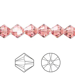 bead, swarovski crystals, crystal passions, rose peach, 8mm xilion bicone (5328). sold per pkg of 72.