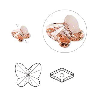 bead, swarovski crystals, crystal passions, rose peach, 8x7mm faceted butterfly (5754). sold per pkg of 12.