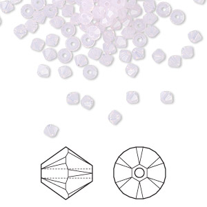 bead, swarovski crystals, crystal passions, rose water opal, 3mm xilion bicone (5328). sold per pkg of 48.