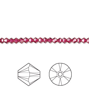 bead, swarovski crystals, crystal passions, ruby, 3mm xilion bicone (5328). sold per pkg of 48.