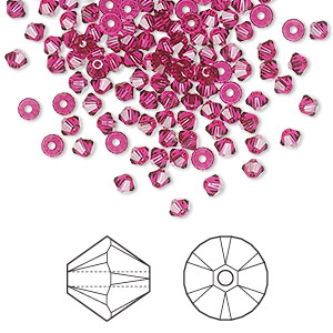 bead, swarovski crystals, crystal passions, ruby, 3mm xilion bicone (5328). sold per pkg of 144 (1 gross).
