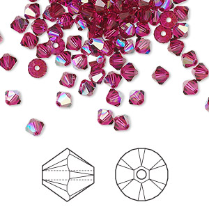 bead, swarovski crystals, crystal passions, ruby ab, 4mm xilion bicone (5328). sold per pkg of 144 (1 gross).