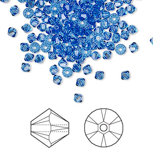 bead, swarovski crystals, crystal passions, sapphire, 3mm xilion bicone (5328). sold per pkg of 48.