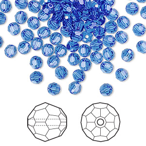 bead, swarovski crystals, crystal passions, sapphire, 4mm faceted round (5000). sold per pkg of 12.