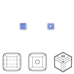 bead, swarovski crystals, crystal passions, sapphire, 4x4mm faceted cube (5601). sold per pkg of 12.