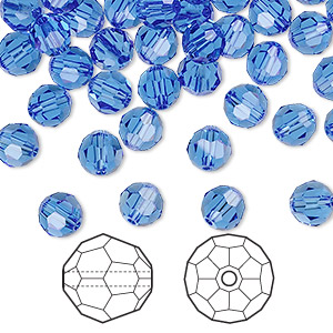 bead, swarovski crystals, crystal passions, sapphire, 6mm faceted round (5000). sold per pkg of 144 (1 gross).