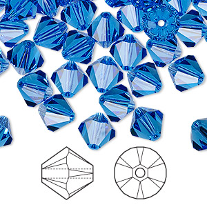 bead, swarovski crystals, crystal passions, sapphire, 8mm xilion bicone (5328). sold per pkg of 72.
