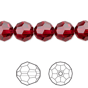 bead, swarovski crystals, crystal passions, scarlet, 10mm faceted round (5000). sold per pkg of 24.