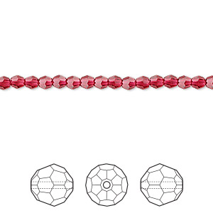 bead, swarovski crystals, crystal passions, scarlet, 3mm faceted round (5000). sold per pkg of 12.