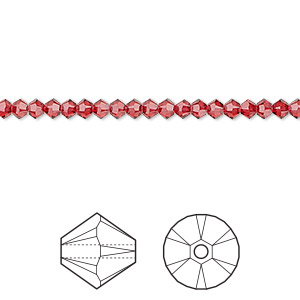 bead, swarovski crystals, crystal passions, scarlet, 3mm xilion bicone (5328). sold per pkg of 144 (1 gross).
